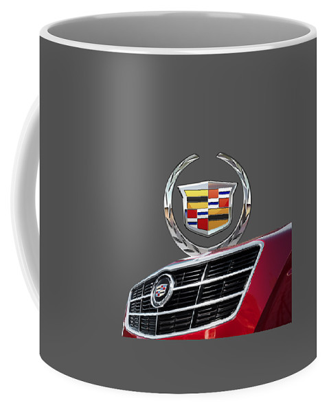 'auto Badges' By Serge Averbukh Coffee Mug featuring the photograph Red Cadillac C T S - Front Grill Ornament and 3D Badge on Black by Serge Averbukh