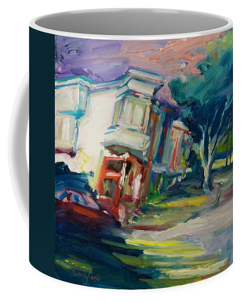 Trees Coffee Mug featuring the painting Red Cafe by Rick Nederlof