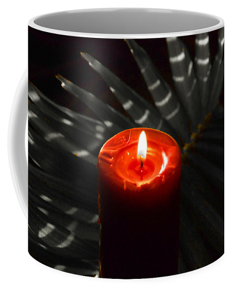 Red Candle Coffee Mug featuring the photograph Red Candle by Susanne Van Hulst