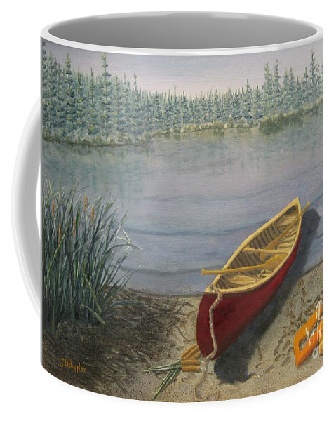 Landscape Coffee Mug featuring the painting Red Canoe 3 by J O Huppler