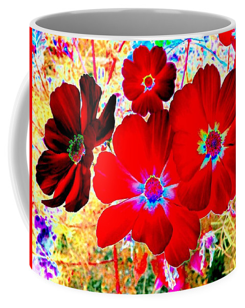 Red Cosmos Coffee Mug featuring the digital art Red Cosmos by Will Borden