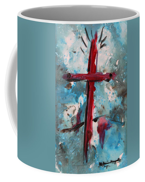 Abstract Coffee Mug featuring the painting Red Cross by M Diane Bonaparte