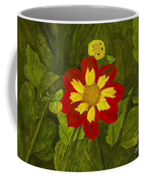 Red Coffee Mug featuring the painting Red Dahlia by Louise Magno
