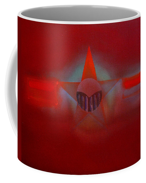 Usaaf Insignia And Idealised Landscape In Union Coffee Mug featuring the painting Red Dawn by Charles Stuart