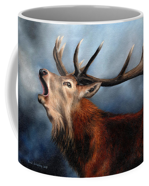 Stag Coffee Mug featuring the painting Red Deer Stag by Sarah Stribbling