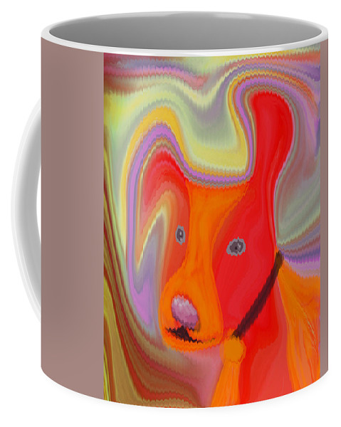 Abstract Coffee Mug featuring the digital art Red Dog by Ruth Palmer