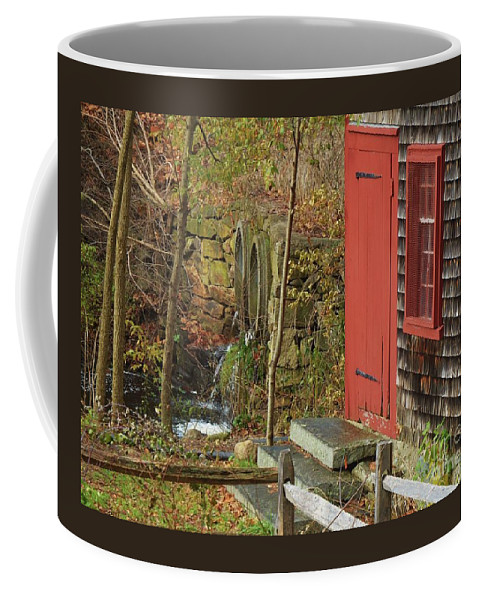 New England Vision Kingsbury Grist Mill Red Door Outdoors Fall Rural Medfield Window Stone Steps Historic Building Shingles Greenery Water Falling Serene Old Fence Canvas Print Wood Print Meta Frame Poster Print Available On Shower Curtains Tote Bags T Shirts Mugs Pouches Throw Pillows And Phone Cases Coffee Mug featuring the photograph Red Door At The Grist Mill In Fall 2017 by Marcus Dagan