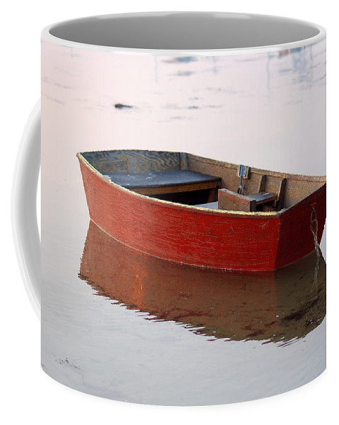 Boat Coffee Mug featuring the photograph Red Dory by Lucia Vicari