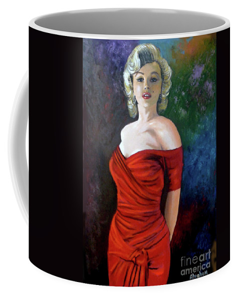 M.monroe Coffee Mug featuring the painting Red Dress by Jose Manuel Abraham