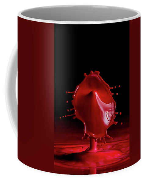 Water Drop Coffee Mug featuring the photograph Red Drop by Marlo Horne