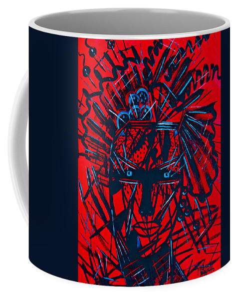 Abstract Coffee Mug featuring the painting Red Exotica by Natalie Holland