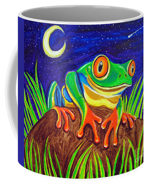 Red-eyed Tree Frog Coffee Mug featuring the painting Red-eyed Tree Frog And Starry Night by Nick Gustafson