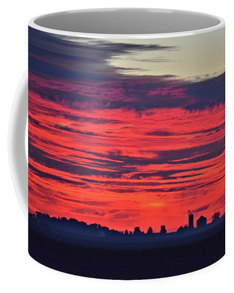 Sunlight Coffee Mug featuring the photograph Red Farm Sunrise by Bonfire Photography