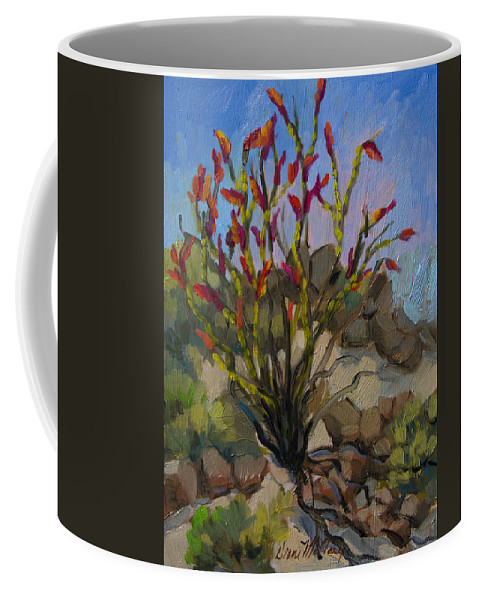 Ocotillo Coffee Mug featuring the painting Red Flame Ocotillo 5 by Diane McClary