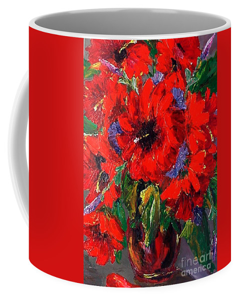 Red Coffee Mug featuring the painting Red Floral by Beverly Boulet