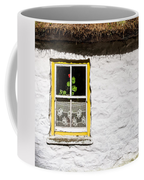 Ireland Coffee Mug featuring the photograph Red Flower Cottage by Nigel R Bell