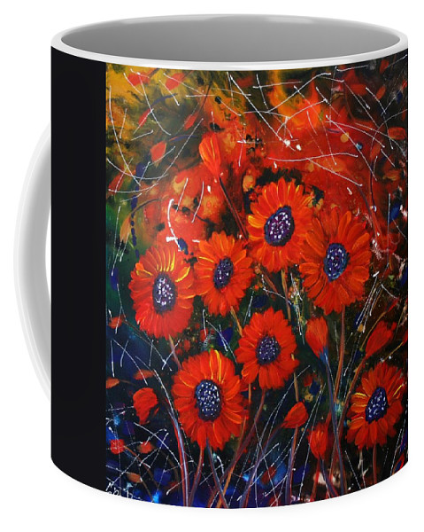 Flowers Coffee Mug featuring the painting Red Flowers In The Night by Luiza Vizoli