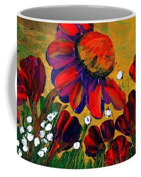 Flowers Coffee Mug featuring the painting Red Garden by Luiza Vizoli