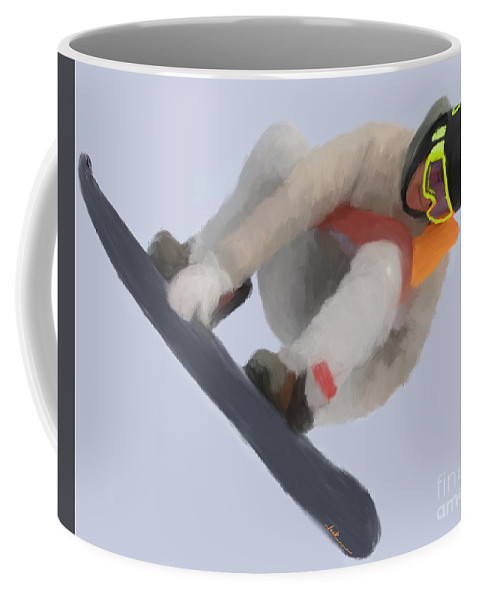 Coffee Mug featuring the painting Red Gerard Snowboarding Gold by Jack Bunds