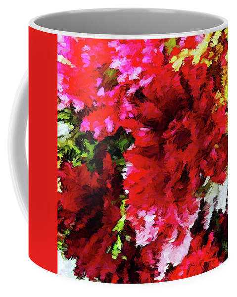 Red Coffee Mug featuring the digital art Red Gerbera Daisy Abstract by Dana Roper