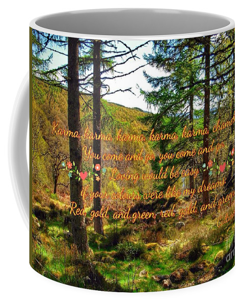 Abernethy Forest Coffee Mug featuring the photograph Red, Gold And Green by Joan-Violet Stretch