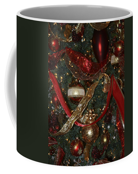 Christmas Coffee Mug featuring the photograph Red Gold Tree No 1 Fashions For Evergreens Event Hotel Roanoke 2009 by Teresa Mucha