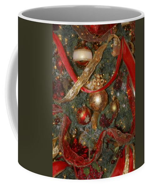 Christmas Coffee Mug featuring the photograph Red Gold Tree No 2 Fashions For Evergreens Event Hotel Roanoke 2009 by Teresa Mucha