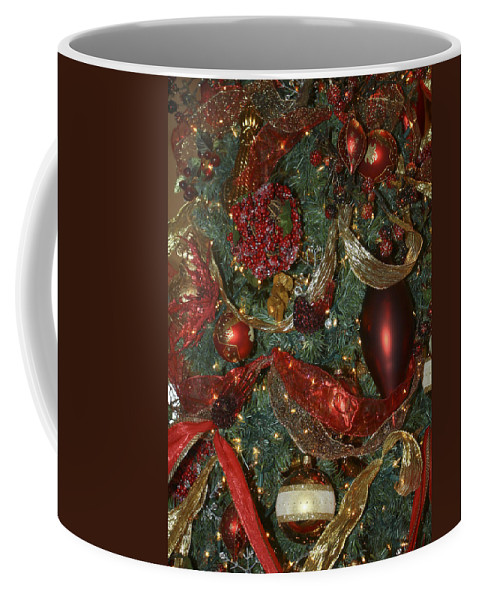 Christmas Coffee Mug featuring the photograph Red Gold Tree No 3 Fashions For Evergreens Event Hotel Roanoke 2009 by Teresa Mucha