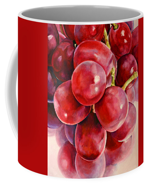 Red Coffee Mug featuring the painting Red Grape Reflections by Toni Grote