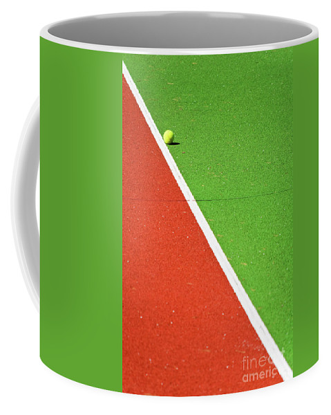 Tennis Coffee Mug featuring the photograph Red Green White Line And Tennis Ball by Silvia Ganora