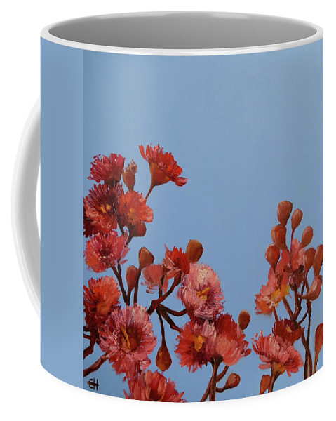 Flowers Coffee Mug featuring the painting Red Gum Blossoms Australian Flowers Oil Painting by Chris Hobel