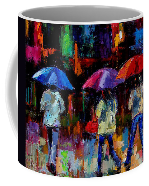 Umbrellas Coffee Mug featuring the painting Red Handbag by Debra Hurd