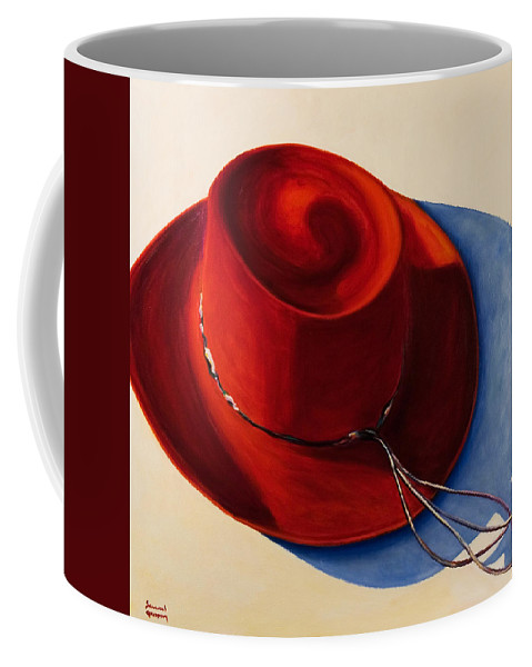 Red Hat Coffee Mug featuring the painting Red Hat by Shannon Grissom