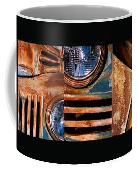 Abstract Photo Of Chevy Truck Coffee Mug featuring the photograph Red Head On by Steve Karol