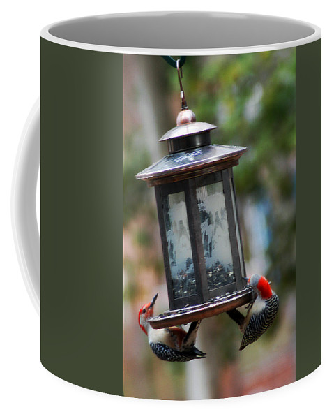 Clay Coffee Mug featuring the photograph Red Head Wood Peckers On Feeder by Clayton Bruster