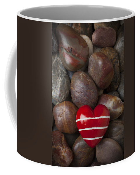 Red Heart Hearts Coffee Mug featuring the photograph Red Heart Among Stones by Garry Gay