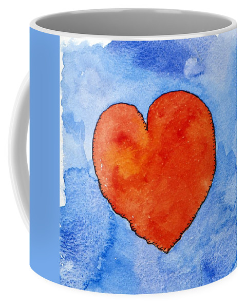 Heart Coffee Mug featuring the painting Red Heart On Blue by Jennifer Abbot