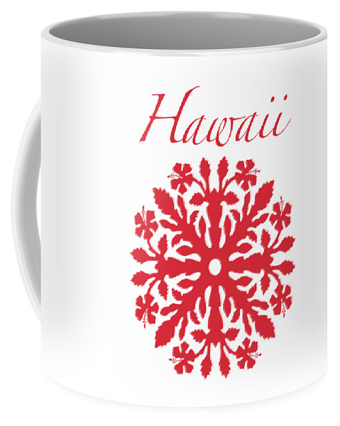 Hawaii T-shirt Coffee Mug featuring the digital art Hawaii Red Hibiscus Quilt by James Temple