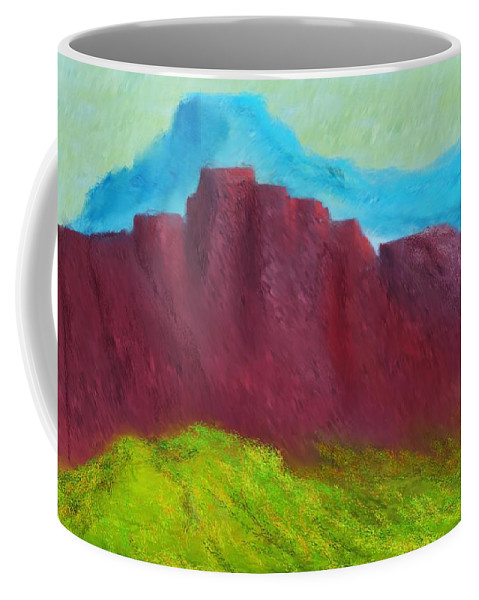 Digital Painting Coffee Mug featuring the digital art Red Hills Revisited. by David Lane