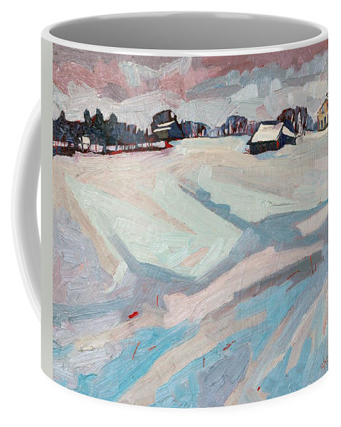Lyndhurst Coffee Mug featuring the painting Red Horse Farm by Phil Chadwick