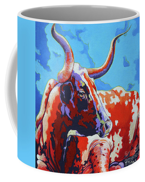Cow Coffee Mug featuring the painting Red Hot Mama by Rose Collins