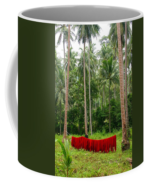 Palm Trees Coffee Mug featuring the photograph Red In The Jungle by Minaz Jantz
