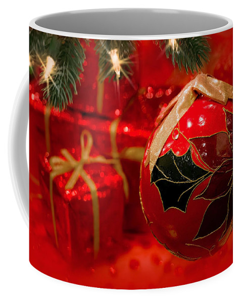 Christmas Tree Coffee Mug featuring the photograph Red Is Christmas by Iryna Goodall