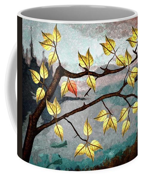 Digital Art Coffee Mug featuring the digital art Red Leaf by Ken Taylor