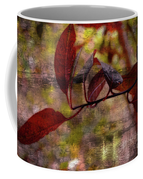 Season Coffee Mug featuring the photograph Red Leaves Painted Effect by Debbie Portwood
