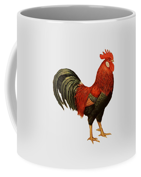 Red Coffee Mug featuring the painting Red Leghorn Rooster by Unknown