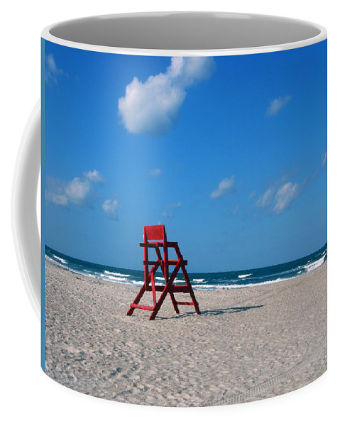 Photography Coffee Mug featuring the photograph Red Life Guard Chair by Susanne Van Hulst