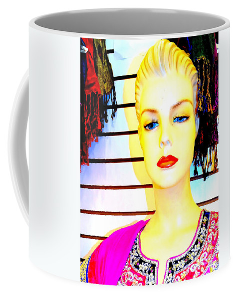 Mannequins Coffee Mug featuring the photograph Red Lips And Sequins by Ed Weidman