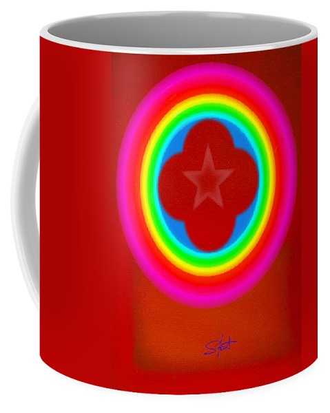 Landscape Coffee Mug featuring the painting Red Logo by Charles Stuart