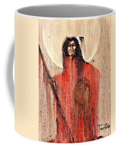Inspirational Coffee Mug featuring the painting Red Man by Patrick Trotter